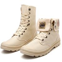 newchic Men Fold-down Cuff Rubber Toe Bumper Ankle Canvas Boots