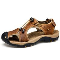 newchic Large Size Men Stitching Genuine Leather Anti-collision Toe Lace Up Outdoor Beach Sandals