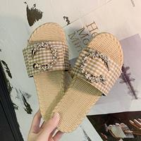 newchic Women Metal Chain Decor Straw Flat Slide slippers