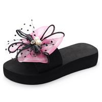newchic Women Lace Bow Decor Non Slip Flat Slides Slippers
