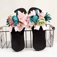 newchic Women Flowers Decor Non Slip Beach Slides Slippers