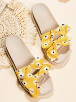 newchic Women Casual Butterfly Knot Dual Strap Platform Flat Slippers