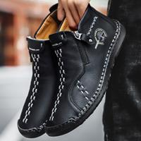 newchic Men Hand Stitching Microfiber Leather Side Zipper Ankle Boots