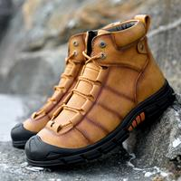 newchic Men Cow Leather Non Slip Wearable Anti-collision Casual Ankle Boots