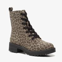 Blue Box dames veterboots met panterprint