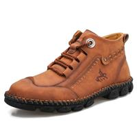 newchic Men Work Style Hand Stitching Microfiber Leather Ankle Boots Boots