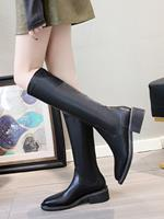 newchic Women's Round Toe Slip-On Solid Color Mid-Calf Fashion Riding Boots