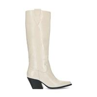 Manfield Off white cowboylaarzen met crocoprint