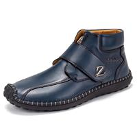 newchic Men Hand Stitching Hook Loop Leather Soft Ankle Boots