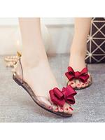 berrylook Color Block Flat Sheer Fabric Round Toe Casual Date Flat Sandals