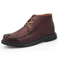newchic Men Microfiber Leather Round Toe Lace Up Work Style Ankle Boots