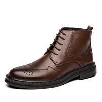newchic Men Brogue Comfy Microfiber Leather Business Dress Ankle Boots