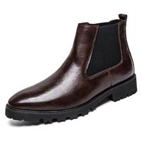 newchic Men Vintage Elastic Slip-on Business Leather Ankle Chelsea Boots