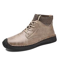 newchic Men British Style Hand Stitching Anti-collision Toe Sock Ankle Boots
