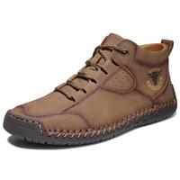 newchic MenLeather Handmade Stitching Non Slip Soft Sole Casual Ankle Boots