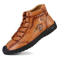 newchic Men Hand Stitching Soft Non Slip Leather Ankle Boots