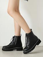 newchic Women Large Size Casual Pure Black Lace Up Side-Zipper Short Calf Boots
