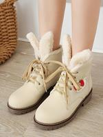 newchic Women Large Size Snow Boots Casual Warm Cute Rabbit Ears Flat Short Calf Cotton Boots
