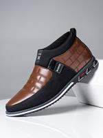newchic Men Classic Business Casual Slip On Leather Ankle Boots