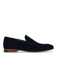 Manfield Blauwe suède loafers