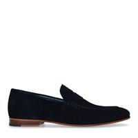 Manfield Blauwe suède loafers