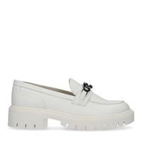 Sacha Beige loafers met zilverkleurige chain  - beige