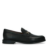 Manfield Zwarte leren loafers met goudkleurig detail