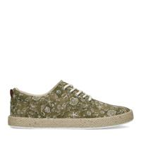 Sacha Khaki canvas sneakers met all over print  - groen