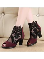 BERRYLOOK Chunky High Heeled Lace Velvet Peep Toe Date Peep-Toe Heels