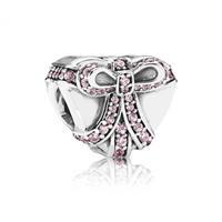 Pandora Bedel zilver 'Hart met roze strik' 791423PCZ