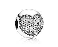 Pandora clip-stopper zilver Hart met witte steentjes 791053CZ