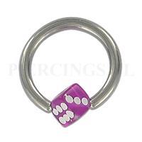 Piercings.nl BCR 1.6 mm acryl balletje dobbelsteen paars