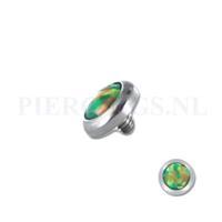 Piercings.nl Dermal balletje 1.2 mm opaal multi glans groen