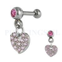 Piercings.nl Helix hangend hart kristal roze