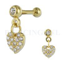 Piercings.nl Helix goud kleur hangend hart kristallen