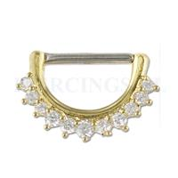 Piercings.nl Tepelpiercing klik goudkleurig kristallen