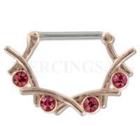 Piercings.nl Tepelpiercing klik goudkleurig rose lauwerkrans
