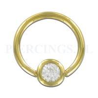 Piercings.nl BCR 1.6 mm goud 14 karaat met kristal