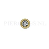Piercings.nl Balletje 1.6 mm 4 mm goud kleur kristal