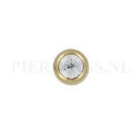 Piercings.nl Balletje 1.6 mm 5 mm goud kleur kristal