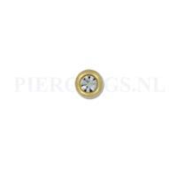 Piercings.nl Balletje 1.2 mm 3 mm goud kleur kristal
