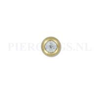 Piercings.nl Balletje 1.2 mm 4 mm goud kleur kristal