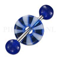 Piercings.nl Tongpiercing acryl donut blauw strandbal