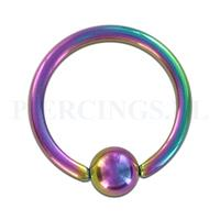 Piercings.nl BCR 1.6 mm x 13 mm diameter x 5 mm geanodiseerd rainbow