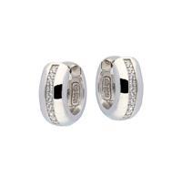 Best Basics Zilveren klapcreolen - zirkonia - 4 x 14 mm - ronde buis - gerodineerd 107.0484.07