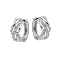 Elegance Zilveren Oorbellen klapcreolen met zirconia 16 mm 107.5627.00