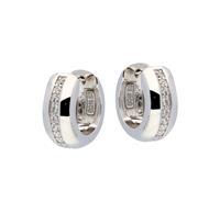 Best Basics Zilveren klapcreolen - zirkonia - 6 x 14 mm - ronde buis - gerodineerd 107.0485.07