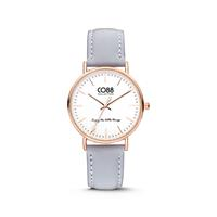CO88 Collection - Horloge staal/leder 36 mm rosé/lichtblauw 8CW-10003