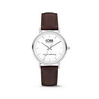 CO88 Collection Horloge staal/leder 36 mm zilver/donkerbruin 8CW-10004