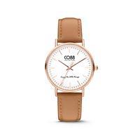 CO88 Collection Horloge staal/leder 36 mm rosé/lichtbruin 8CW-10005
